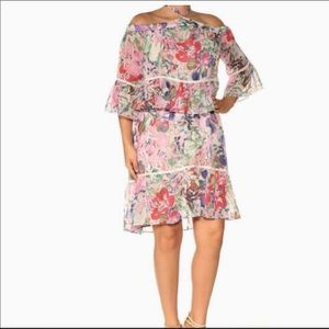 RACHEL ROY OFF THE SHOULDERS FLORAL RUFFLE DRESS